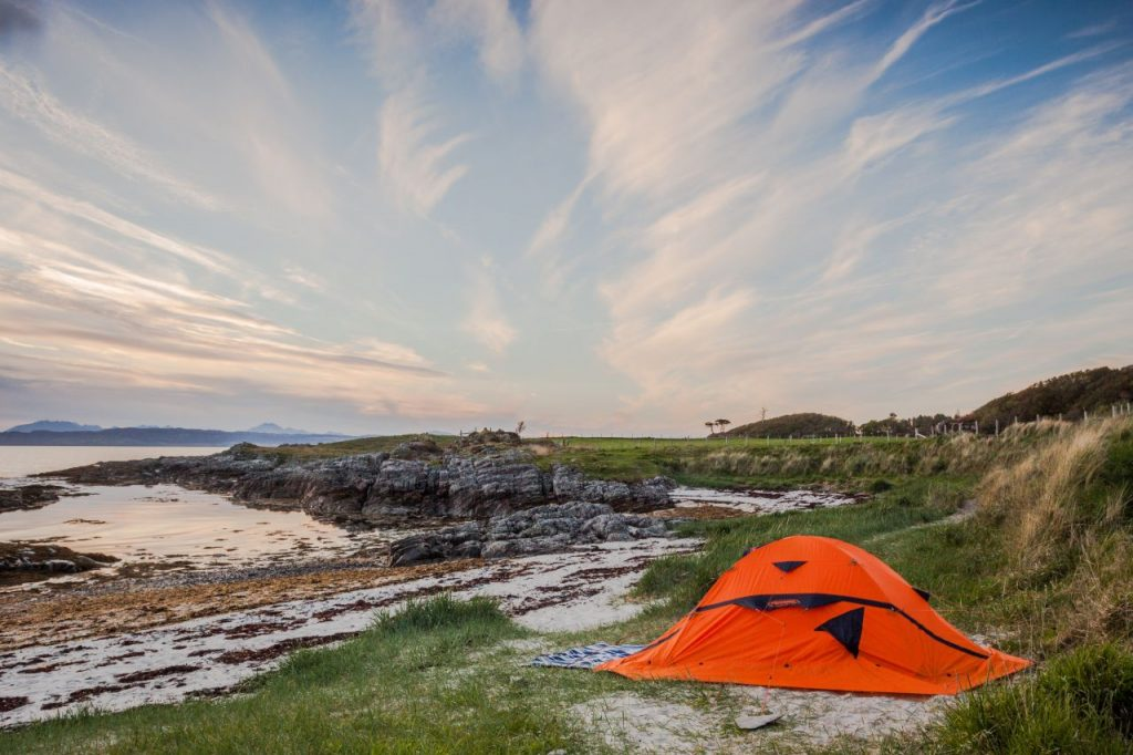camping by beach daytime-